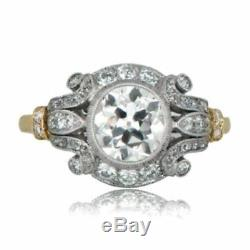 1.50Ct Round Cut Diamond Vintage Edwardian Engagement Art Deco 925 Silver Ring