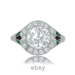 14k White Gold Over Vintage & Antique Edwardian Engagement Ring 2.14 Ct Diamond