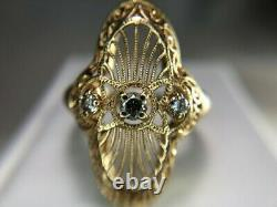 14k Yellow Gold Filled Victorian Edwardian Magnificent Circa Ring 1.5 Ct Diamond