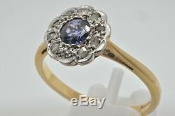 18ct gold sapphire & diamond vintage Edwardian daisy cluster ring size N