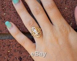 1910's Antique Edwardian 14k Platinum Topped Yellow Gold Shield Ring Size 4.75