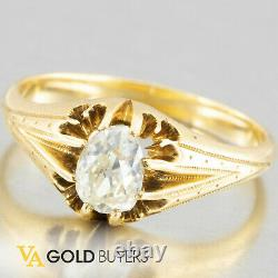 1910's Antique Edwardian 14k Yellow Gold Old Euro Belcher Diamond Ring. 51ct