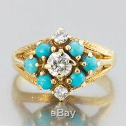 1910's Antique Edwardian 18k Yellow Gold Diamond and Turquoise Ladies Ring