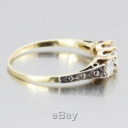 1910's Vintage Edwardian 14k Gold 3-Stone Diamond Engagement Ring 0.60ctw