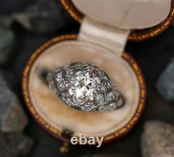 1920's Engagement Ring Edwardian Vintage Ring 1.86Ct Diamond 925 Sterling Silver