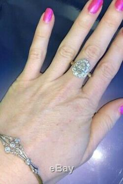1CT Old Mine Cut Pear Diamond Halo Ring 18K Gold and Platinum Antique Edwardian
