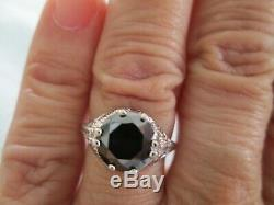 2.25ct REAL BLACK DIAMOND RING, VINTAGE EDWARDIAN STYLE, APPRAISAL, FREE DIA TESTER