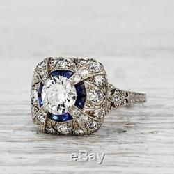 2.30CT Vintage Victorian Edwardian Round Engagement Ring 925 Sterling Silver