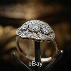 2 Ct Diamond Vintage Edwardian Antique Engagement Art Deco Cluster Ring Era 1925