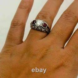 925 Sterling Silver Edwardian Vintage Engagement Antique Ring 3Ct Ruby & Diamond