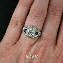 925 Sterling Silver Milgrian Engagement Victorian Edwardian Ring 1.65 Ct Diamond