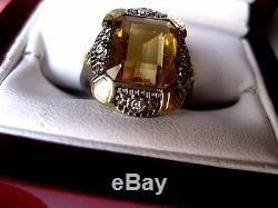 ANTIQUE EDWARDIAN 14K YELLOW GOLD RINGNATURAL CITRINE & DIAMONDS, circa 1910's