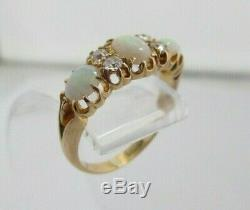 ANTIQUE EDWARDIAN NATURAL FIRE OPAL 18ct YELLOW GOLD & DIAMOND TRILOGY RING