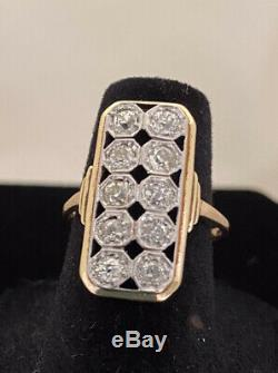 ANTIQUE Edwardian Old Mine Cut Diamond Ring 14kt Yellow Gold, 4.20 Grams