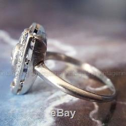 Antique 1 Ct Diamond Vintage Edwardian Engagement 14K White Gold Over Ring 1837