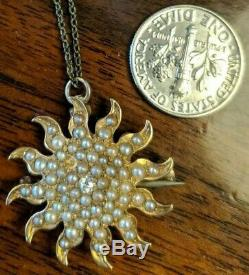 Antique 14k Gold Sun Pin Lovely Edwardian Diamond Seed Pearl Pendant Necklace