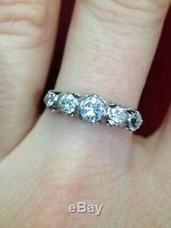 Antique 18K White Gold 1CTW Diamond Edwardian 5 Stone Ring 6.5