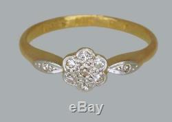 Antique 18ct Gold Diamond Cluster Ring Edwardian / Art Deco Vintage Daisy Ring