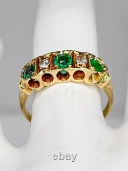Antique 1900s Edwardian $4000 1.25ct Emerald Diamond 14k Yellow Gold Band Ring