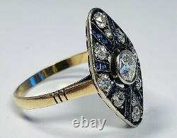 Antique 19th Century Edwardian 14K Gold With Diamonds & Sapphires Ring Size 7.25