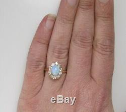 Antique 1ct Opal. 80ct Diamond Ring 14k Yellow Gold Halo Vintage Edwardian