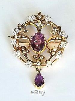 Antique Custom Gold Amethyst Seed Pearl and Diamond Brooch Pin Pendant Edwardian