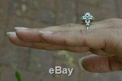 Antique Diamond Emerald Engagement Ring Cocktail Jewelry Old Mine Cut Cushion