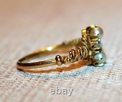 Antique Edwardian 10k Yellow Gold Seed Pearl & Rose Cut Diamond Ring, Size 5.75
