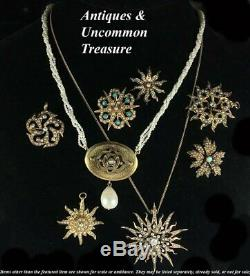 Antique Edwardian 12k Gold Starburst Pendant, 1 2/8 Brooch, Diamond, Seed Pearl