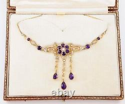 Antique Edwardian 15Ct Gold Amethyst And Pearl Lavalier Necklace In Leather Case