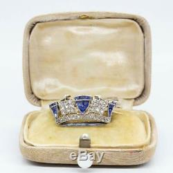 Antique Edwardian 18 k gold and Platinum Diamonds and Sapphires Brooch