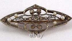 Antique Edwardian 18K Gold and Platinum With Diamond and Natural Pearl Brooch