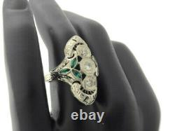Antique Edwardian 18K White Gold Diamond and Emerald Ring Coctail Vintage