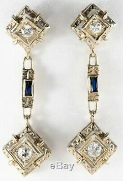 Antique Edwardian 18K White Gold TWO DROP DIAMOND & SAPPHIRE PENDANT EARRINGS