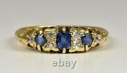 Antique Edwardian 18ct Gold Sapphire & Diamond Ring, (Chester, 1903)