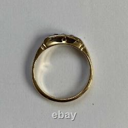 Antique Edwardian 18ct Yellow Gold Ruby And Diamond Trilogy Ring