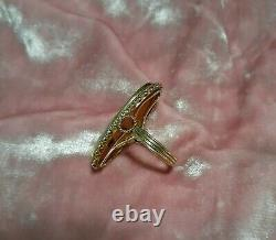 Antique Edwardian 1900s 14K Gold Cameo Ring with Diamond 5.9 grams! Size 6.5