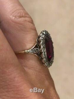 Antique Edwardian Cushion Cut Synthetic Ruby and OEC Diamond Halo Ring, 18ct