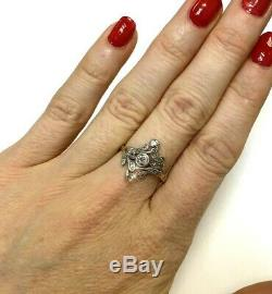 Antique Edwardian Diamond 18K Yellow Gold and Platinum Swirling Ring Size 6