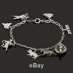 Antique Edwardian Hand-Made Gold Platinum Collectible Charm Bracelet