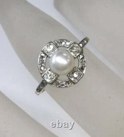 Antique Edwardian Natural Pearl Diamond Ring Solid 18k Two Tone Gold