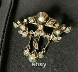 Antique Edwardian Old Cut Diamond Silver Pin Brooch with Gold Pin & Back