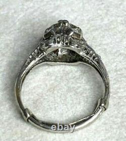 Antique Edwardian Platinum 1.05cts European Cut Diamond With Accents Ring