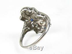 Antique Edwardian Platinum Natural Blue Sapphire & Diamond Ring 5.5g eb4305