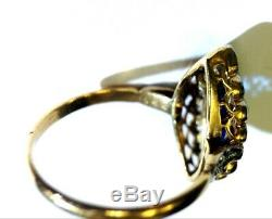 Antique Edwardian Sapphire Marquis and Diamond 18K Gold Navette Ring Size 5