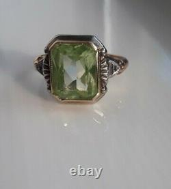 Antique Edwardian Victorian Solid 10k Yellow White Gold Citrine Diamond Ring 5.5