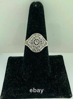 Antique EdwardianFiligree Platinum & 18K Gold RingSet withRose+Mine Cut Diamonds