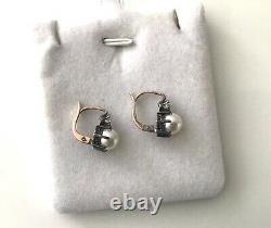 Antique French Victorian, Edwardian 18k Yellow gold Diamond & pearl Earrings