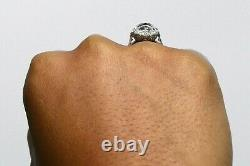 Antique Oval Blue Sapphire Diamond Edwardian Navette Cocktail Ring 1 1/2 Inch