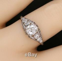 Antique Platinum Filigree One Carat Euro Cut Diamond Ring